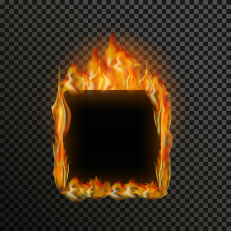 efectos especiales: marco transparente realista llama de fuego con espacio de texto sobre un fondo blanco y negro. efectos de luz especiales. elementos translúcidos hoguera. ilustración vectorial de malla de degradado para el diseño y empresa