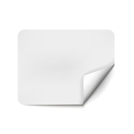 Square page curl with shadow on blank sheet of paper. White paper sticker. Element for advertising and promotional message isolated on white background. Vector illustration for your design and business