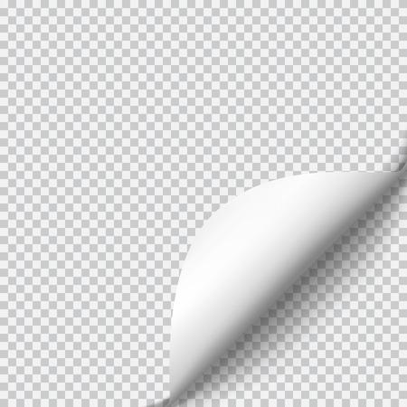 Enrollamiento de la página con la sombra en la hoja de papel en blanco. etiqueta de papel blanco. Elemento para la publicidad y el mensaje promocional aislado en el fondo transparente. ilustración vectorial para su diseño y empresa Ilustración de vector