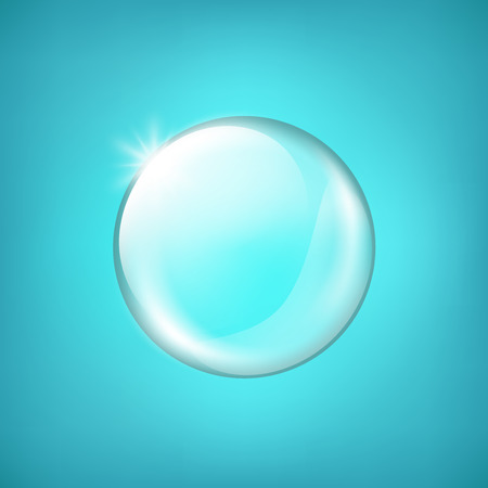 complexion: Transparent glass sphere with glares and highlight. Shiny glossy white pearl. Collagen and serum background concept cosmetic. Vector illustration with gradient and effects for your design and business