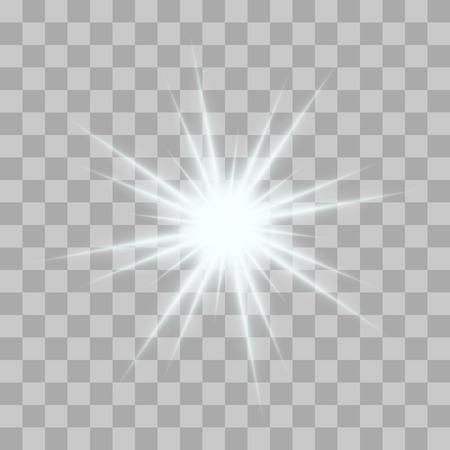 Vector incandescente raffiche di luce con scintillii su sfondo trasparente. stelle gradiente trasparente, fulmini Flare. Magia, luminosi, effetti naturali. Struttura astratta per la progettazione e le imprese.