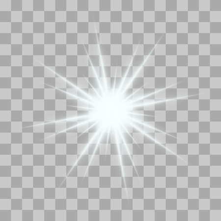 Wektor świecące błyski światła z błyszczy na przezroczystym tle. Przezroczyste gwiazdy gradient, piorun pochodni. Magia, jasne, naturalne efekty. Streszczenie tekstury dla swojego projektu i biznesu.