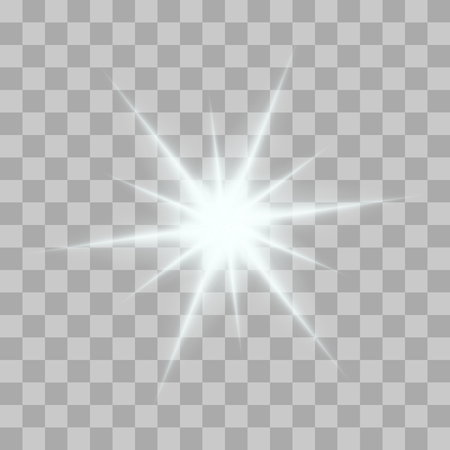 Vector gloeiende licht barst met schittert op transparante achtergrond. Transparante gradient sterren, bliksem flare. Magic, heldere, natuurlijke effecten. Abstracte textuur voor uw ontwerp en het bedrijfsleven.