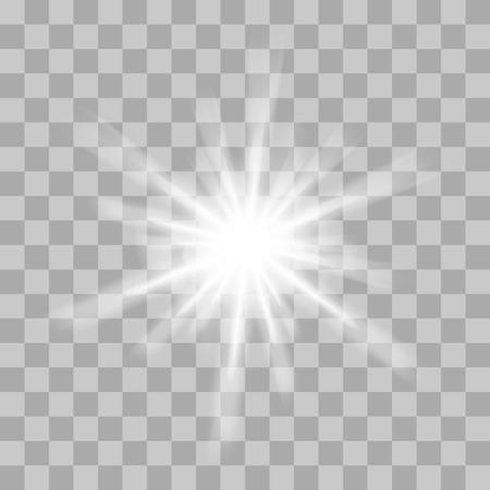 Vector gloeiend licht barst met sparkles op transparante achtergrond. Transparante gradiëntsterren, bliksemflare. Magische, heldere, natuurlijke effecten. Abstracte textuur voor uw ontwerp en het bedrijfsleven.