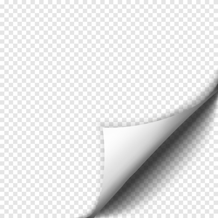 Page curl with shadow on blank sheet of paper. White paper sticker. Element for advertising and promotional message isolated on transparent background. Vector illustration for your design and business Vectores
