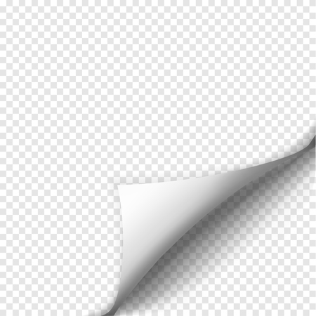 new corner: Page curl with shadow on blank sheet of paper. White paper sticker. Element for advertising and promotional message isolated on transparent background. Vector illustration for your design and business Illustration