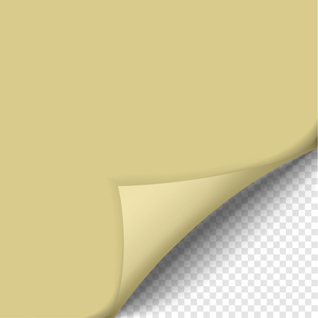 Page curl with shadow on blank sheet of paper. Yellow sticker. Element for advertising and promotional message isolated on transparent background. Vector illustration for your design and business