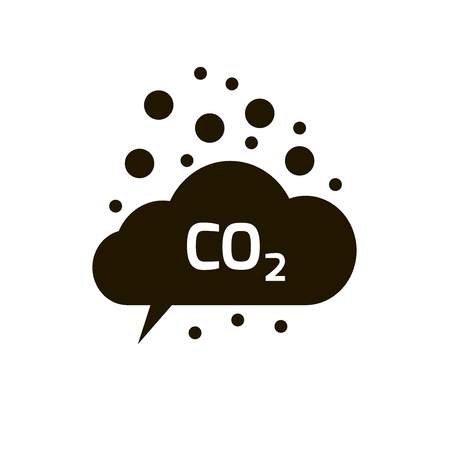 toxic cloud: co2 emissions icon cloud vector flat, carbon dioxide emits symbol, smog pollution concept, smoke pollutant damage, contamination bubbles, garbage label, combustion products isolated modern design sign Illustration