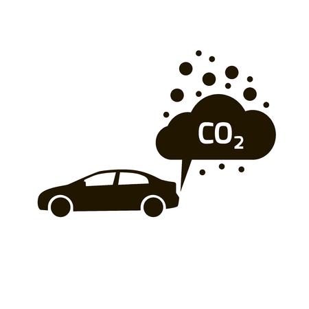자동차 벡터 평면에서 이산화탄소 배출량 아이콘 구름, 이산화탄소 기호, 스모그 오염 개념, 연기 오염 물질의 손상, 오염 거품, 연소 생성물 고립 된