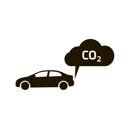 exhaust pipe: co2 emissions icon cloud from car vector flat, carbon dioxide emits symbol, smog pollution concept, smoke pollutant damage, contamination bubbles, combustion products isolated modern design sign