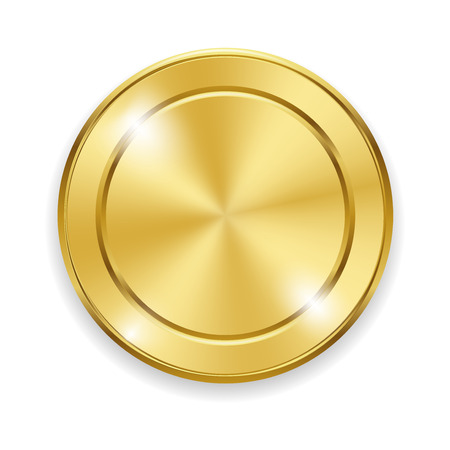 gold circle: Blank round polished gold metal badge on white background. Metal circle with glares and highlights. Shiny yellow stamp make with gradient mesh. Vector illustration for your design and business.