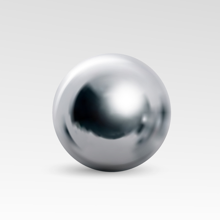 metal: Chrome ball realistic isolated on white background. Spherical 3D orb with transparent glares and highlights for decoration. Jewelry gemstone. Vector Illustration for your design and business.