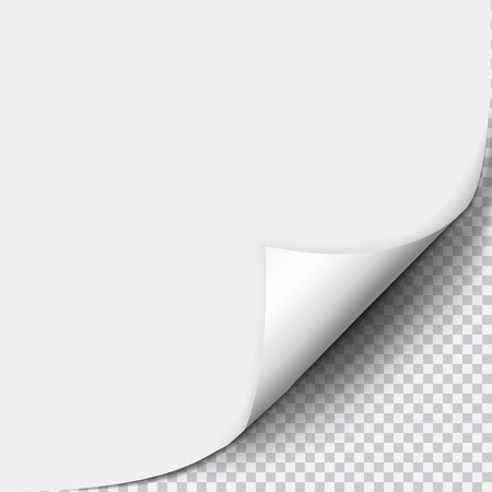 Page curl with shadow on blank sheet of paper. White paper sticker. Element for advertising and promotional message isolated on transparent background. Vector illustration for your design and business Иллюстрация