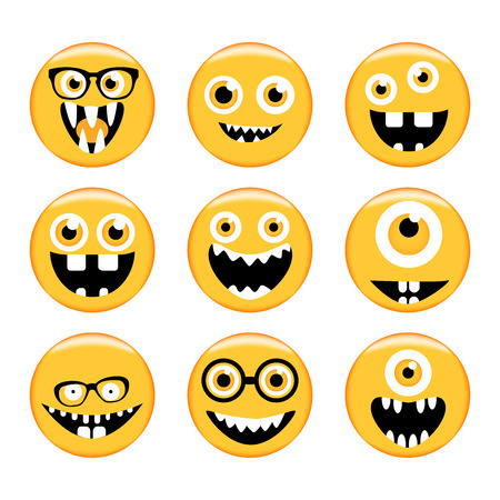 monster face: Set of Emoticons. Set of Emoji. Monster faces in glasses with different expressions. Vector style smile face icons. Isolated on white background. Vector illustration for your design and business.