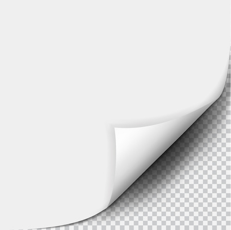 Page curl with shadow on blank sheet of paper. White paper sticker. Element for advertising and promotional message isolated on transparent background. Vector illustration for your design and business Vettoriali