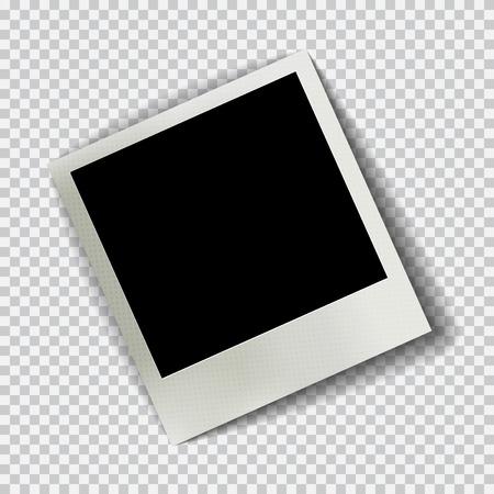 Vecchia cornice realistica vuoto con ombra trasparente su sfondo bianco nero plaid. Foto confine con album di famiglia. Fare con lo strumento gradiente maglie. illustrazione per la progettazione e le imprese.