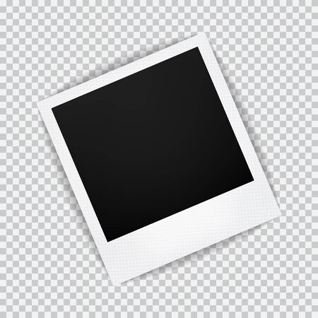 polariod: Old empty realistic photo frame with transparent shadow on plaid black white background. Photo border to family album. Make with gradient mesh tool. illustration for your design and business.