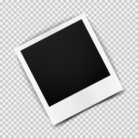 Vecchia cornice realistica vuoto con ombra trasparente su sfondo bianco nero plaid. Foto confine con album di famiglia. Fare con lo strumento gradiente maglie. illustrazione per la progettazione e le imprese. Vettoriali