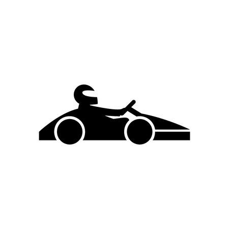 Kart with driver black icon. Go cart concept isolated on white background. illustration for your design and business.