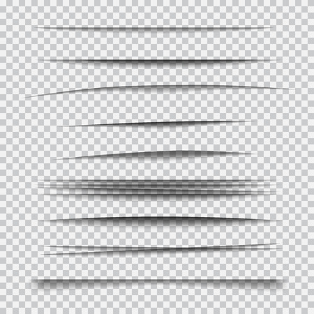 Transparent realistic paper shadow effect set.  Element for advertising and promotional message isolated on transparent background. Abstract illustration for your design and business
