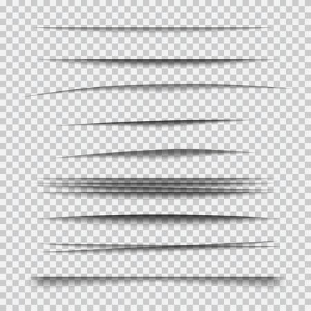 Transparente realistische Papier Schatteneffekt eingestellt. Element für Werbung und Werbebotschaft isoliert auf transparentem Hintergrund. Zusammenfassung Illustration für Ihr Design und Business