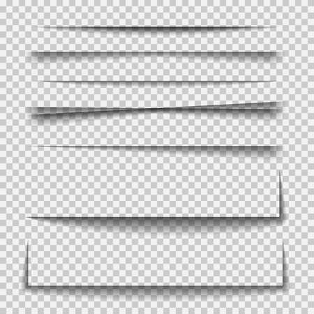 Transparent realistic paper shadow effect set. Element for advertising and promotional message isolated on transparent background. Abstract illustration for your design and business Vettoriali