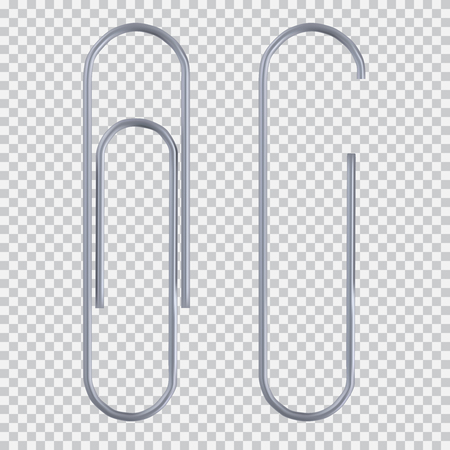 Realistic paper clip set. Isolated on white black transparent plaid background. Element for advertising and promotional message. illustration for your design and business.