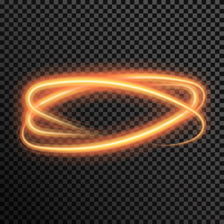 light trail: fire sparkle spiral wave line with flying sparkling flash lights. Bokeh glitter magic glowing light swirl trail trace effect on transparent background. Abstract texture for design and business