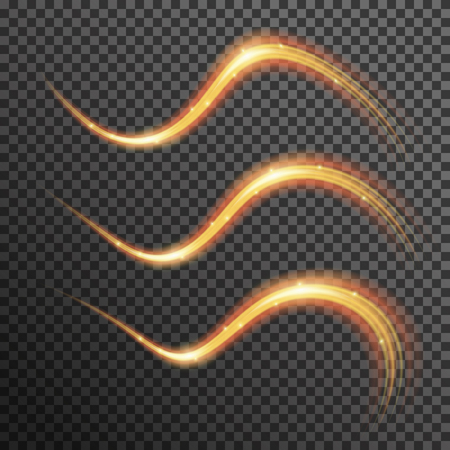 light trails: fire sparkle spiral wave line with flying sparkling flash lights. Bokeh glitter magic glowing light swirl trail trace effect on transparent background. Abstract texture for design and business