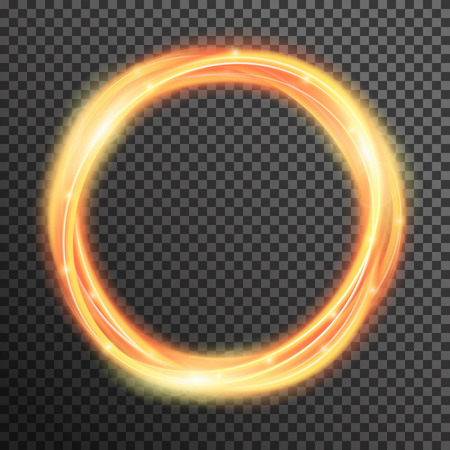 fire sparkle spiral wave line with flying sparkling flash lights. Bokeh glitter magic glowing light swirl trail trace effect on transparent background. Abstract texture for design and business