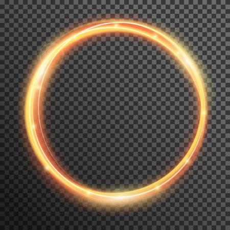 Vector chispa de fuego línea de las olas con el vuelo en espiral luces de flash espumosos. Bokeh efecto mágico brillo de luz brillante remolino de traza de camino en el fondo transparente. la textura abstracta para el diseño y los negocios