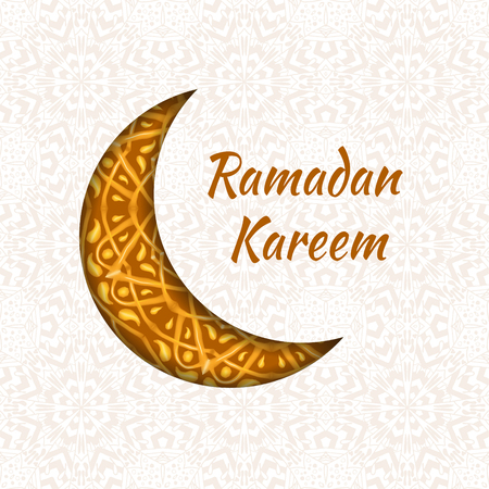 generosity: Ramadan Kareem greeting card. May Generosity Bless you during the holy month. illustration of floral design decorated crescent moon on creative background for Islamic Festival celebration