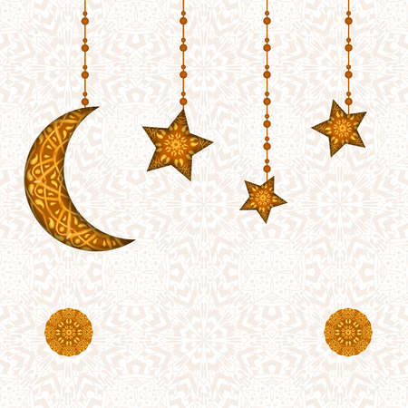 라마단 카림 인사말 카드입니다. 월 관대 거룩한 달 동안 당신을 축복. 이슬람 축제 축하를위한 창조적 인 배경에 꽃 무늬 디자인 장식 초승달의 그림 일러스트