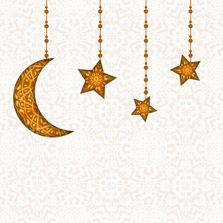 generosidad: tarjeta de felicitaci�n de Ramadan Kareem. La generosidad de mayo bendiga durante el mes sagrado. Ilustraci�n de dise�o de decoraci�n floral de media luna en el fondo creativo para el Festival de celebraci�n Isl�mica