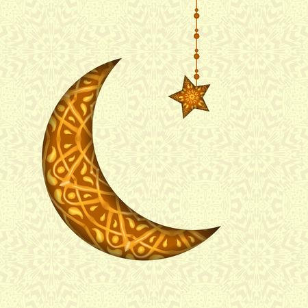 generosity: tarjeta de felicitaci�n de Ramadan Kareem. La generosidad de mayo bendiga durante el mes sagrado. Ilustraci�n de dise�o de decoraci�n floral de media luna en el fondo creativo para el Festival de celebraci�n Isl�mica
