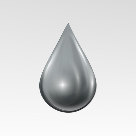 Water drop on light gray background. Water bubble with glares and highlights. Metal droplet. Illustration
