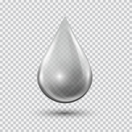 Transparent water drop on light gray background. Water bubble with glares and highlights. Metal droplet. Stock Illustratie
