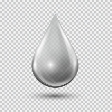 Transparante water druppel op lichtgrijze achtergrond. Waterbel met blikken en hoogtepunten. Metal druppel.