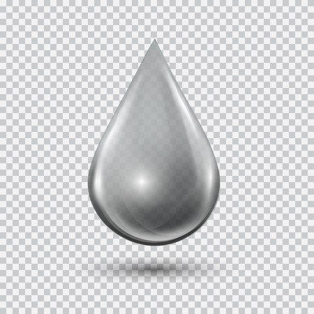 droplet: Transparent water drop on light gray background. Water bubble with glares and highlights. Metal droplet. Illustration