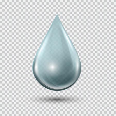 Transparant blauw water druppel op lichtgrijze achtergrond. Waterbel met blikken en hoogtepunten. Metal druppel.