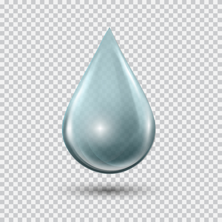 Transparent blue water drop on light gray background. Water bubble with glares and highlights. Metal droplet.