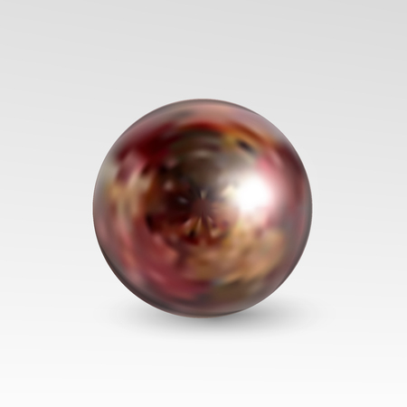 perl: Pearl realistic isolated on white background. Spherical beautiful 3D orb with transparent glares and highlights for decoration. Jewelry gemstones.