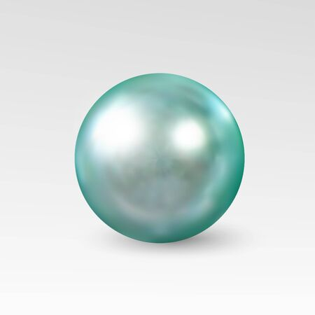 Pearl realistic isolated on white background. Spherical beautiful 3D orb with transparent glares and highlights for decoration.