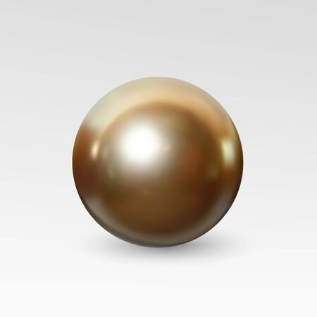perl: Bright gold pearl realistic isolated on white background. Spherical beautiful 3D orb with transparent glares and highlights for decoration.