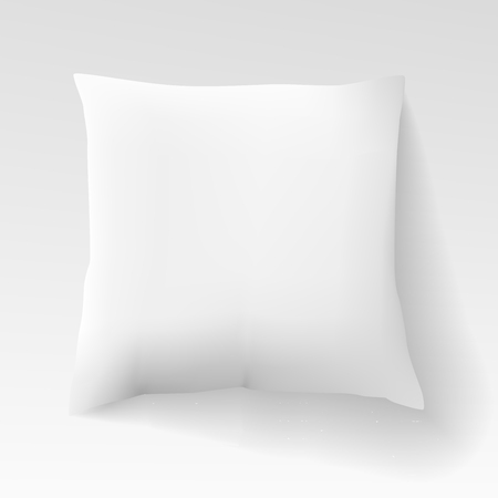 Blank white square pillow with shadow. Cushion illustration isolated on light background.