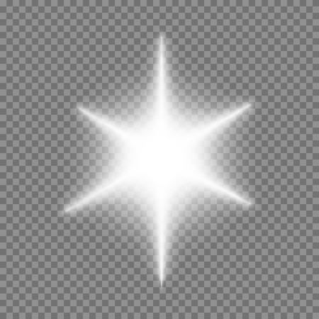 Vector glowing light bursts with sparkles on transparent background  イラスト・ベクター素材