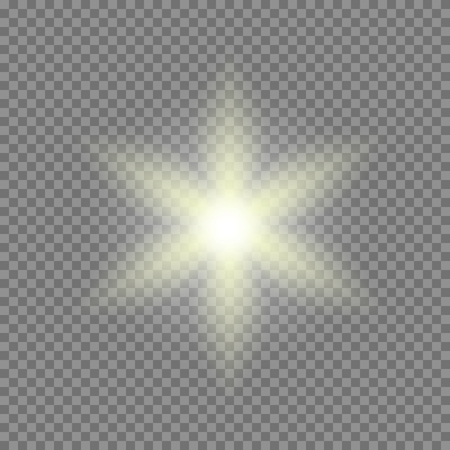 Vector glowing light bursts with sparkles on transparent background Ilustrace