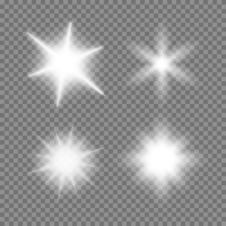 Vector glowing light bursts set with sparkles on transparent background