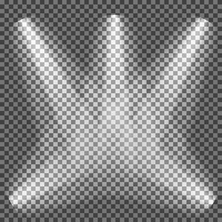 Realistic white gray glowing spotlights on transparent laid background