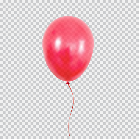 Red helium balloon isolated on transparent background.